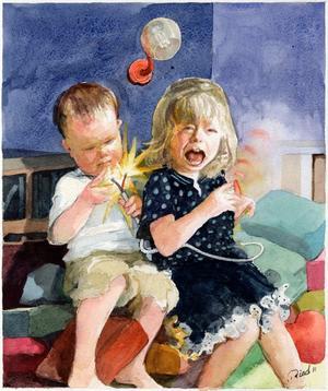 Två små barn fick elstötar av en felmonterad lampsladd.