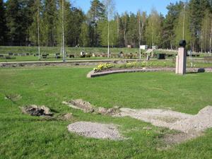 """En traktor har kört rätt över minneslunden och lämnat djupa spår. Det har upprört Arne Hedblom, som har sin fru begravd där. """"Det går att köra runt, annars kan de väl gräva för hand. Det är respektlöst att köra traktor över gravplatsen."""""""