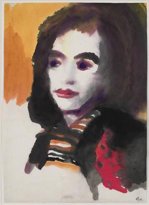Ett av Emil Noldes porträtt i akvarell, av hustrun.