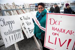 Katarina Hägg har engagerat sig hårt för sjukhuset i Örnsköldsvik. Här vid en manifestation i januari 2017. Arkivbild