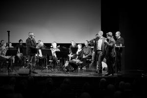 Mikael Fältsjö, Leif Petterson, Fredrik Rönning och Håkan Svensson på scenen. Foto: Marija Ratkovic Vidakovic
