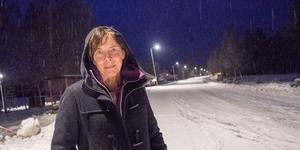 Nu är det lugnt men när turistsäsongen sätter igång ökar trafiken genom Vemhån mångfalt. Marie Fermbäck i byn tycker att det är otäckt att gå efter vägen under den tiden och vill gärna se en gångväg.