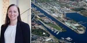 Karin Theuer, mark- och etableringsstrateg på Gävle kommun, leder arbetet med att utvecka Hucken på Alderholmen till att bli nästa del av stadsdelen Gävle strand.