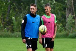 Daryl Smylie, till vänster, är avstängd i Jönköpings Södras bortamatch mot AFC Eskilstuna. Erik Moberg, till höger, väntas däremot spela från start i backlinjen.