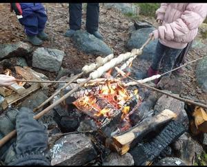 Runt 200 personer kom och fick prova på att bland annat grilla pinnbröd. Foto: Jörgen Ullmark.