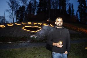 Majed Safaee genomförde en ljusmanifestation i stadsparken för fortsatt kamp för vården.