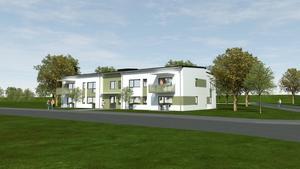 Illustration över det nya lägenhetshuset som ska ligga bredvid Ockelbo Osts lokaler i Gäveränge. Foto: Ockelbogårdar AB.
