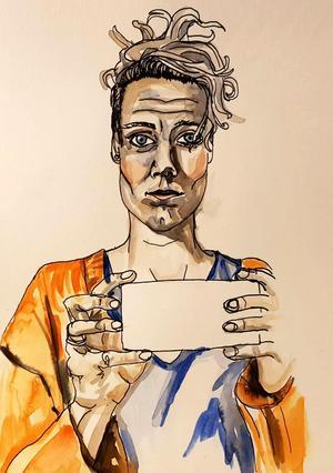 Självporträtt av Johanna Flood.