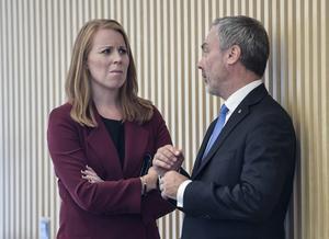 Annie Lööf (C) och Jan Björklund (L) ska enligt medieuppgifter på fredagen ha kommit överens med S och MP om ett regeringssamarbete. Foto: Henrik Montogomery/TT