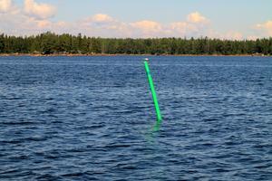 En prick, eller sjösäkerhetsanordning(SSA) som markerar farleden in till Axmarby söder om Kusön. De efterföljande två prickarna in mot Axmarby är de som saknas. Bakom sjömärket med silvertärnan ser man Kusön. Bild: Lasse Halvarsson