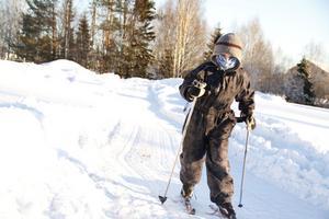 Oskar Svensson-Aspaas, från Norge, hälsade på släktingar i Nordanstig och passade på att ta några extra varv i skidspåren.