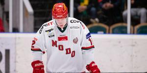Fredrik Olofsson satt utvisad när BIK Karlskoga öppnade målskyttet i matchen. Bild: Johan Löf/Bildbyrån