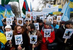 Demonstration i Kiev till stöd för offren efter den ryska annekteringen av halvön.Foto: AP Photo/Sergei Chuzavkov