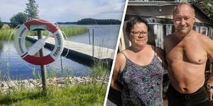 Campinggästerna Ann-Marie Nordqvist och Gustav Linder agerade snabbt när två kajaker kantrade utanför Stenö havsbad. Med hjälp av båt kunde en pojke plockas upp ur vattnet.