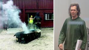 Branden startade lågt i skåpet och hade en V-formadspridning upp mot taket. Skåpet där branden startade i bars ut av räddningstjänsten. Till höger: Ulf Borgström, Gryningspyromanen. Foto: Förundersökningsprotokoll & Stig-Åke Jönsson/TT