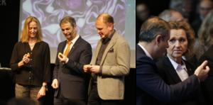 Bild till vänster: Katarina Ageborg, Astra Zeneca, Ibrahim Baylan (S), näringsminister och Henrik Henriksson, Scania. Bild till höger: Ibrahim Baylan och Boel Godner (S), kommunstyrelsens ordförande i Södertälje.