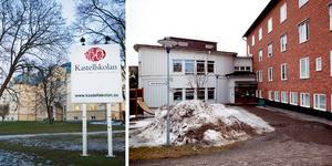 Signaturen Oroliga föräldrar undrar i sin insändare när de ska få en trygg avlämningsplats för sina barn vid Kastell- och Kristinaskolan. Foto: Jennie Johansson och arkiv.