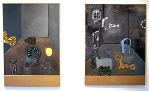 Tapani Björkbackas abstrakta verk präglas av milda färger och återkommande mjuka figurer.