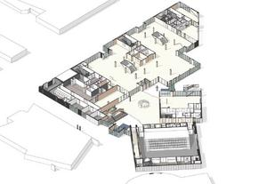 Våning 1: Entréplan med multiscen och kafédel till höger. Illustration: Wingårdh arkitektbyrå.