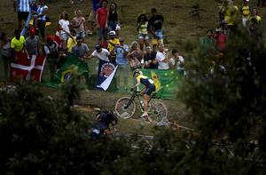 Jenny Rissveds ute på banan vid OS i Rio de Janeiro.