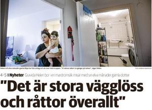 NA 16 september 2019. Gravida Helen talade ut i NA om dålig boendemiljö med vägglöss och råttor. Då fick hon hjälp med sanering av lägenheten.