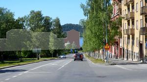 Siluetten av kommande byggnader är inlagd av kommunen. LT har fyllt i en byggnad med brunt, där länsstyrelsen kritiserar planen. Illustration: Östersunds kommun