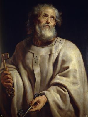 Enligt traditionen är lärjungen Petrus den förste biskopen av Antiokia. Målning av Peter Paul Rubens från 1612.