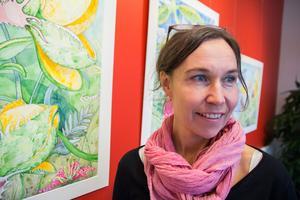Erica Magnusson, egentligen keramiker men nu skicklig akvarellist.
