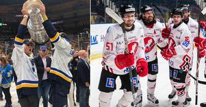 August Gunnarsson har några roliga dagar just nu. I måndags var han med och firade brorsan Calles Stanley Cup-visit. Och på onsdagkvällen väntar derby med nya klubben BIK Karlskoga mot moderklubben Örebro Hockey. Bilder: Bildbyrån/privat