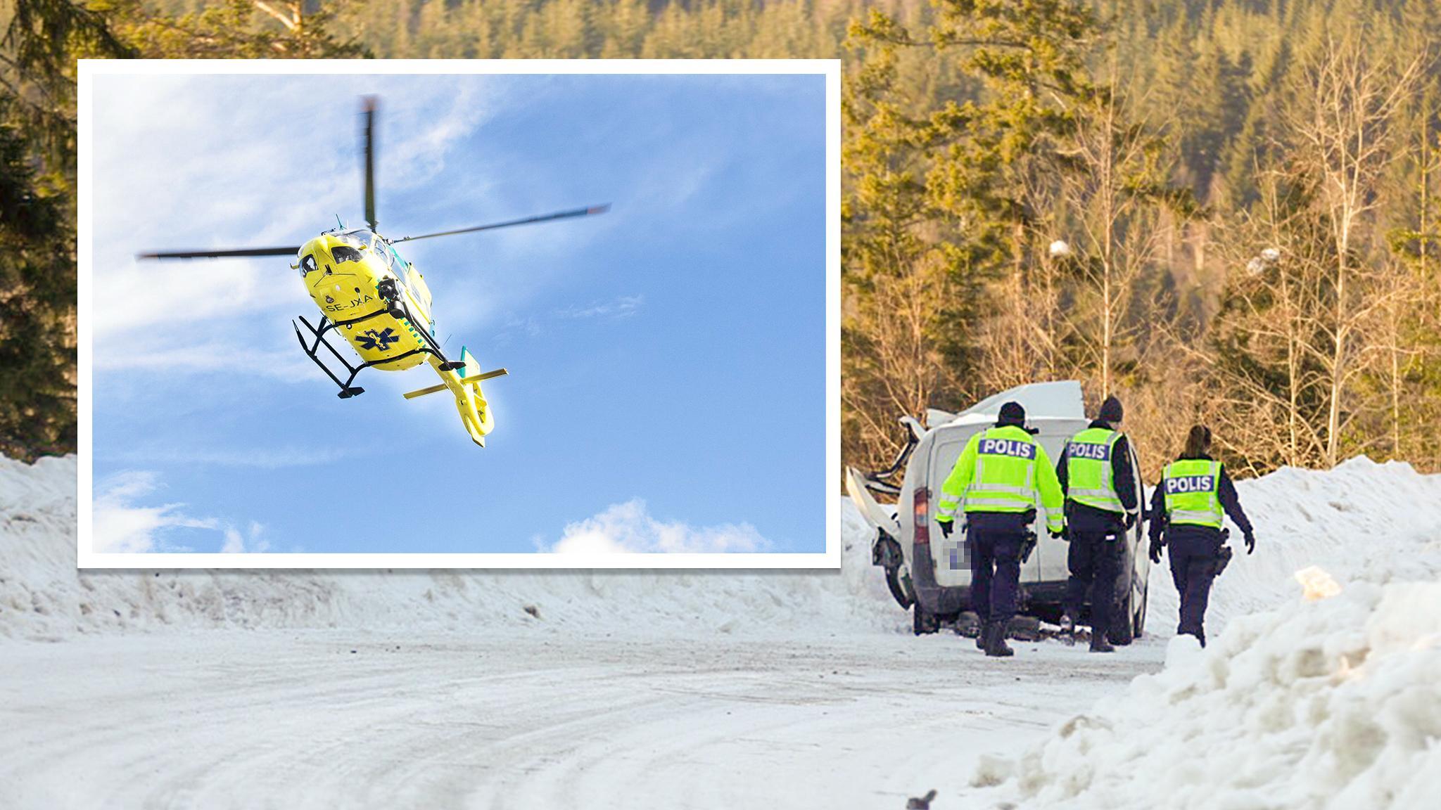 Flera skadade i krock ambulanshelikopter pa plats
