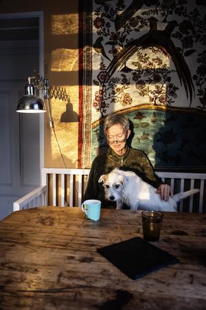 En kopp te i köket tillsammans med hunden Dixie.