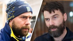 Förbundskaptenen Rikard Grip och skidlandslagets läkare Per Andersson. Bild: Bildbyrån.