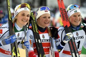 Stina Nilsson, Maiken Caspersen Falla och Hanna Falk. Bild: TT.