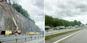 Trafikverkets arbete med bergsskärningen söder om Södertälje syd påverkar trafiken på E4:an ordentlig.