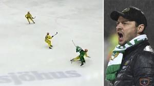Hammarbys tränare Misja Pasjkin tycker inte att Fagerström gör något som bör anmälas. Bild: Bandyplay/TT.