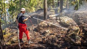 Räddningstjänsten fick snabbt kontroll över branden och kunde sedan ägna sig åt att släcka och blöta ner marken för att förhindra att brandrester nere i marken åter flammar upp.Foto: Niklas Hagman