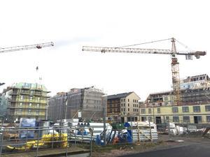 Byggande på Öster Mälarstrand i Västerås.