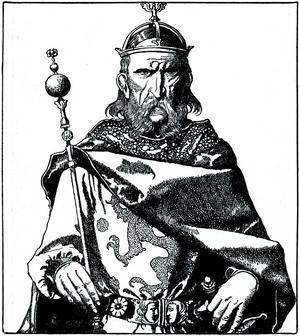 Uther Pendragon. Illustration av Howard Pyle från 1903.