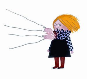 Lill-Emma är på väg till Stor-Emma och måste ha fina kläder. Inte populärt.Foto: Illustration Lisen Adbåge