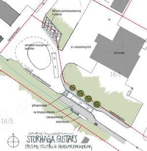 Så här ser förslaget till ny lösning för knuthållplatsen vid Storhaga ut.  Avsmalnande väg vid busshållplatsen gör den säkrare och pendlare får parkering både för sina cyklar och bilar samt ett väderskydd.Illustration: Sweco