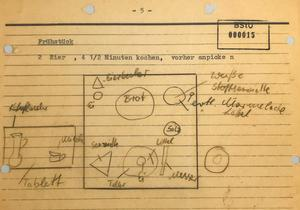 Precis så här ville Stasichefen ha frukostbrickan. Äggen skulle kokas 4,5 minuter.