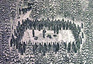 En stor menighet hade samlats vid avrättningsplatsen i Kallbäcken för att få en skymt av när mördaren Petter Hedin möter skarprättaren och blir halshuggen.