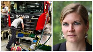 Lisa Lorentzon, ordförande för Akademikerföreningen hos Scania. Foto: Lars Pehrson/TT och privat