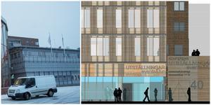 Tvåvåningshuset ersätts av ett nytt kommunhus i fem våningar. Illustration: Scheiwiller Svensson arkitektkontor
