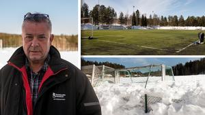 Ove Näslund har aldrig varit med om att det har tagit så lång tid att få fram konstgräsplanerna som det har gjort i år. Bilden är ett montage.