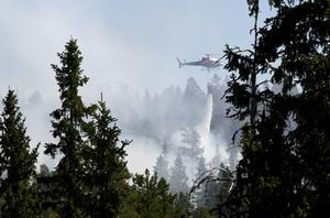 På söndagen skedd insatsen med helikoptrar över branden, men bara några timmar senare blev det stopp. Dessutom höll två av helikoptrarna på att bli stående inne i branden utan bränsle.