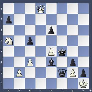 Lösning: 1.Dh4+ Ke5 2.Sc4