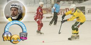 Johan Jansson Hydling i en annan snömatch – på Kalix IP, som kunde genomföras. Bild: Rikard Bäckman/Victoria Mickelsson