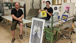 Stig Fröberg och Christer Rispling ställde ut tillsammans på Grafiska sällskapet i Stockholm förra  året.