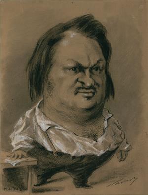 Nadars karikatyrteckning av Honoré Balzac från 1850.